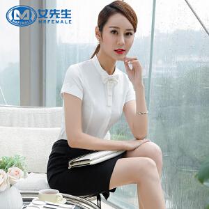 【618年中庆 满100减50 不封顶】女先生2107夏季新款韩版气质女职业衬衫修身显瘦蝴蝶结短袖白色衬衣