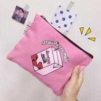 日系卡通软妹少女心学生洗漱手拿包可爱便携收纳化妆包帆布小包包