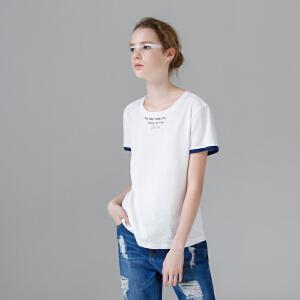 【下单减100 商场同款】初语夏装新品撞色圆领字母刺绣短袖T恤女印花纯棉修身打底衫上衣