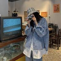 牛仔外套女宽松韩版学生2019秋装假两件港风BF上衣百搭夹克潮 图片色