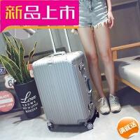 拉杆箱万向轮寸女皮箱子旅行箱包铝框行李箱男寸韩版密码箱 银灰色 铝框 全色钻石款