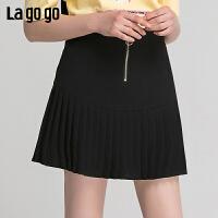 【秒杀价75】lagogo/拉谷谷2019夏新款高腰金属拉链百褶黑色半裙女IABB134F42