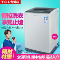 TCL 8公斤 全自动波轮洗衣机 金属机身 一键脱水 智能模糊控制 护衣内筒XQB80-101