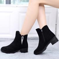 冬季老北京布鞋女棉鞋中年妈妈棉靴子女加绒加厚保暖中跟粗跟短靴