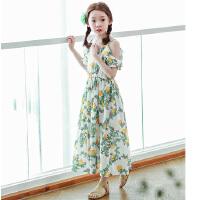 新品韩版童装女童波西米亚中大童度假沙滩裙露肩长裙