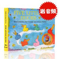 英文原版绘本 Five Little Ducks 五只小鸭子纸板书 儿童英语启蒙0-3-6岁 拉斐唱读系列