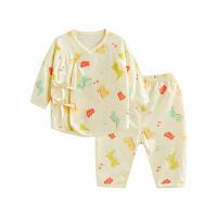 婴儿内衣套装纯棉和尚服新生儿睡衣两用裆音乐恐龙两用裆合同套