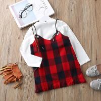 童装套装春装新款2018韩版宝宝长袖上衣吊带裙子儿童两件套套装