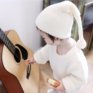 Yinbeler秋冬新款宝宝毛球毛线帽婴儿子手工针织帽0-1-2岁男女童纯色保暖套头帽