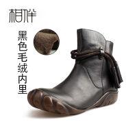 新款手工复古马丁靴平底舒适民族风流苏短靴牛皮女靴大码
