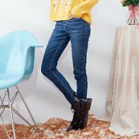 【满299减200】美特斯邦威牛仔裤女春装水洗超弹针织牛仔裤铅笔裤女604508