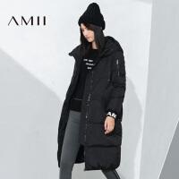 【满200减100 上不封顶】AMII[极简主义]冬新时尚字母印花连帽拉链加厚羽绒服
