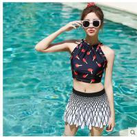 泡温泉泳衣女士分体小清新性感小胸聚拢保守显瘦泳装韩国学生少女 可礼品卡支付