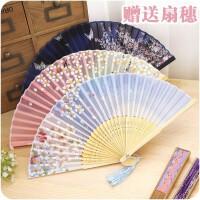日式创意和风复古樱花竹扇子夏季手摇小扇子古风真丝折扇