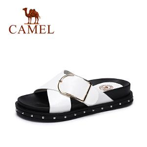 Camel/骆驼女鞋 夏季新款韩版简约凉拖 百搭厚底显瘦拖鞋女