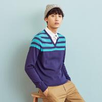 美特斯邦威毛衣男士春秋季条纹衬衫领假两件针织衫韩版线衫学生