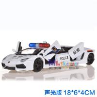 加长兰博基尼宝马MINI合金警车模型声光回力四开门儿童玩具车