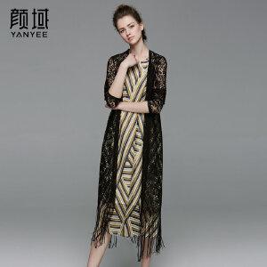 颜域品牌女装2017夏季新款欧美长袖勾花镂空流苏蕾丝长外披薄开衫