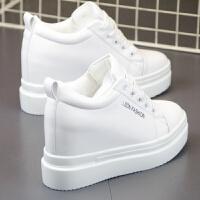 女鞋新款小白鞋女厚底内增高10cm单鞋百搭韩版休闲运动鞋板鞋 白色 1992