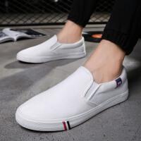 夏季男士休闲鞋男鞋一脚蹬懒人帆布鞋男板鞋小白鞋潮流鞋子