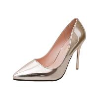 春秋季新款韩版银色浅口单鞋细跟高跟鞋时尚尖头漆皮职业工作鞋女