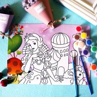 儿童diy水彩画水粉画益智画涂鸦画颜料手工填色涂色画画套装