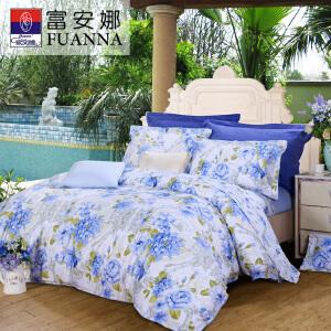 [当当自营]富安娜四件套纯棉1.5m床田园风床上用品双人全棉床单被套芳菲四月1.5米(5英尺)床 蓝