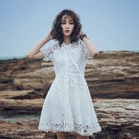原创沙滩裙海边度假ins超火裙子气质仙女裙白色水溶蕾丝镂空连衣裙夏GH032 白色