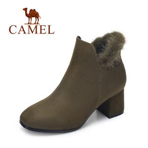 camel/骆驼女鞋 2017秋冬新款 时尚英伦貂毛短筒女靴子 方头高跟短靴女