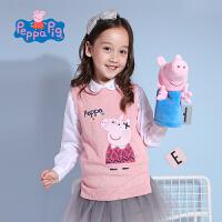 【2件5折】小猪佩奇正版童装女童秋装可爱套头针织衫无袖背心毛衣女宝宝毛线衣上衣