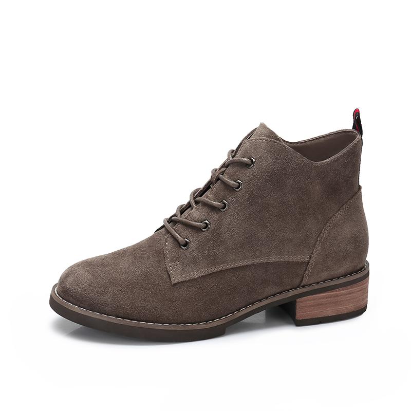 camel/骆驼女鞋 秋冬新款 英伦风反绒皮短筒靴子 简约系带女靴