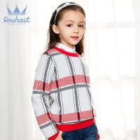 【特惠款】水孩儿童装女童线衣秋冬新款儿童针织线衣女童纯棉针织衫格子薄毛衣AMDQK406