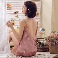 甜梦莱性感睡衣女夏季冰丝薄款蕾丝花吊带两件套装春秋天可爱短裤
