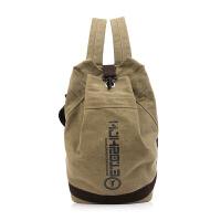 双肩包男士时尚潮流韩版学生书包帆布水桶包休闲旅行背包大容量包