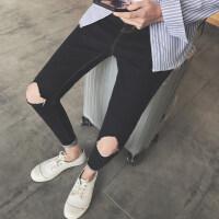 牛仔裤男士秋季新款破洞修身小脚裤韩版黑色休闲简单款男九分裤潮