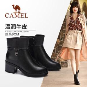 camel/骆驼女鞋 2017秋冬季新款中筒靴 粗跟高跟女靴英伦风百搭靴子