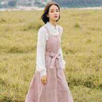 秋冬气质法式少女复古高腰文艺吊带格子森女系毛呢背带连衣裙长裙