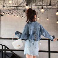 牛仔外套女2019春秋季韩版复古港风学生宽松短款牛仔上衣夹克 图片色