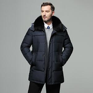 战地吉圃男士羽绒服2019秋冬季新款中老年羽绒服男中长款外套加厚保暖修身男装