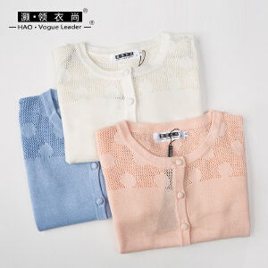 灏领衣尚春夏波点长袖针织衫小开衫短款空调衫棉质圆领纯色薄外套