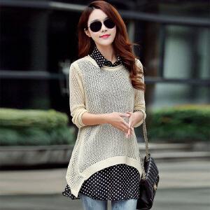 2017春装新款韩版女装两件套长袖针织衫宽松打底衫波点雪纺衫显瘦