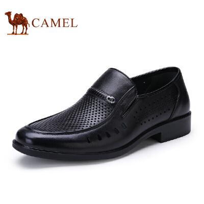 骆驼牌 男鞋 新品低帮套脚商务休闲鞋男士镂空透气皮鞋