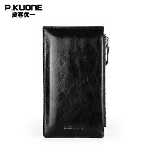 【可礼品卡支付】P.kuone/皮客优一男包长款拉链真皮超潮韩学生薄卡包 P720601