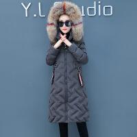 羽绒女中长款2018新款冬装韩版宽松棉衣大毛领棉袄加厚外套潮