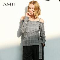 【到手价:195元】Amii极简女神范小香风衬衫女2019秋季新款格子配腰带露肩吊带上衣