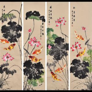广西省美术家协会会员 李老师《荷塘四条屏》HN12668
