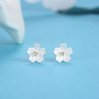银樱花耳钉女士小清新时尚耳饰可爱花朵银饰品