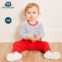 【2件4折到手价:39.6】迷你巴拉巴拉婴儿针织条纹T恤2018秋新款童装女宝宝棉质体恤衫