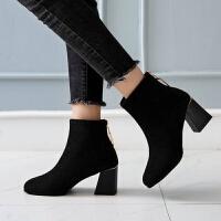 马丁靴女粗跟方头短靴百搭高跟鞋2019新款春秋单靴冬季鞋子女ins