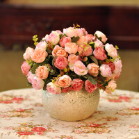 御目 摆件 仿真花套装客厅花艺卧室玫瑰花瓶欧式田园绢花装饰花餐桌假花摆饰